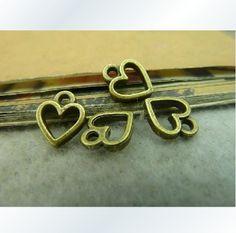 100X Atq Bronze Heart to Heart Charm  Y494