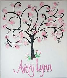 babyshower guestbook - thumbprint tree or balloons