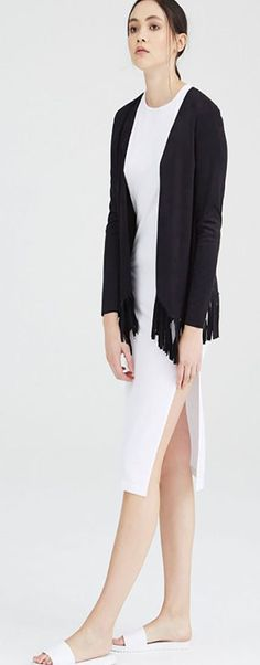 #Isobel suedette fitted open #jacket with fringed hem. Throw it over your staple dress, add a little #boho to your t-shit and jeans or to complete your festival look.  100% Polyester