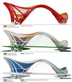 View the full picture gallery of Footbridge Café/restaurant - Bike/Store Bridges Architecture, Architecture Magazines, Concept Architecture, Futuristic Architecture, Amazing Architecture, Origami Architecture, Museum Architecture, Architecture Diagrams, Architecture Graphics