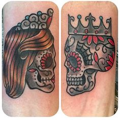 Image result for king and queen skull tattoos