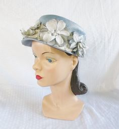 50's 60's Vintage Blue Straw Hat with Flowers by MyVintageHatShop, $35.00