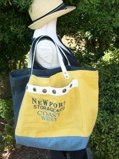 Sac cabas en coton rustique jaune et bleu , anses en cuir blanches : Sacs à main par cocoon-by-ln