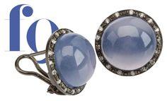 orecchini-oro bianco rodiato nero-blackened gold-diamanti-calcedonio blu della namibia-diamants-Namibian blue calcedony-designer federica quaglia