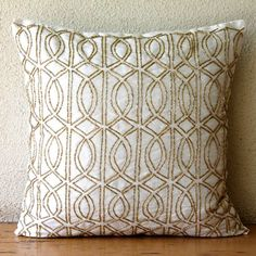Decorative Throw Pillow Covers 18 Inch Silk Gold Ivory Embroidered Bead Accent Toss Couch Sofa Bed Pillow Cases Bedroom Home Living Gold Taj $32