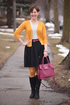 Already Pretty outfit featuring mustard cardigan, polka dot tee, full black skirt, magenta belt, mustard tights, Cole Haan handbag, ECCO Sculptured 65 boots