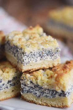 Mohn Streusel Quark Kuchen - Poppy Seed Crumble Cheesecake   Das Knusperstübchen