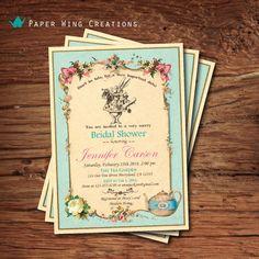 Alice in Wonderland Bridal Shower Invitation. For mad tea party bridal shower Tea Party Invitations, Baby Shower Invitations For Boys, Printable Invitations, Bridal Shower Invitations, Printables, Bridal Shower Tea, Tea Party Bridal Shower, Bridal Showers, Elegant Baby Shower