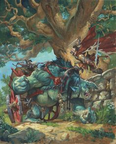Forgotten! Knight confronting an ogre and a dark elf wizard
