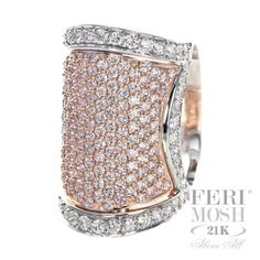 Universe Ring - 16 grams of solid two tone White and Rose Gold, superiority in fine jewellery, constructed through micro setting with genuine pink and white diamonds will include a customized IGI/FERI MOSH Appraisal. High Jewelry, Cute Jewelry, Jewellery, Hand Ring, Sparkle, Bangles, Gems, Rose Gold, Bling
