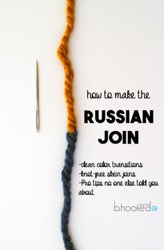 Russian Join: Change Skeins Without Knots or Ends. Great tutorial for knitting and crochet!