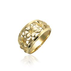 Queen Plumeria Dome Ring in 14K Yellow Gold
