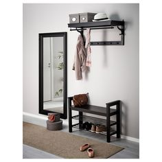 IKEA - HEMNES, Bench with shoe storage, black-brown, Holds a min. Coordinates with other furniture in the HEMNES series. Entryway Mirror With Hooks, Ikea Entryway, Ikea Mirror, Apartment Entryway, Ikea Hemnes Mirror, Mirror Hooks, Mirror Bedroom, Bench With Shoe Storage, Ikea Shoe Storage