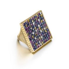 Ray Griffiths one-of-a-kind yellow gold square crownwork Disco ring with pavé diamonds and of multi-colored sapphires set in oxidized silver. Gems Jewelry, High Jewelry, Stone Jewelry, Jewelry Box, Jewelry Accessories, Jewelry Design, Jewellery, Black Women Fashion, Gems And Minerals