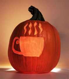 Coffee Pumpkin. Great counter idea for Halloween in the shop -- could promote pumpking latte.
