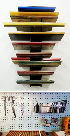 Supplies from the Magnetic North studio tour. I need a rack like this for my squeegees!