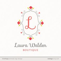Premade Custom Logo Design - Monogram - Boutique Photography Wedding Small Business