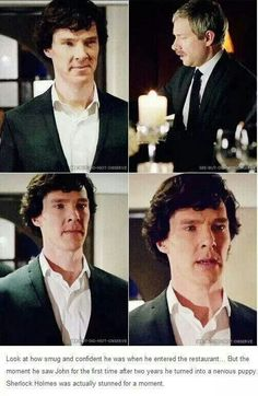 I've been waiting for this post for so long! I love this moment! It shows how much Sherlock cares about John. Sherlock Bbc, Sherlock Fandom, Sherlock Series, Benedict Cumberbatch Sherlock, Sherlock Season, Watson Sherlock, Sherlock Quotes, Johnlock, Destiel