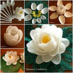 Plastic spoons are more than utensils. With your creative mind and skillful hands, they can be part of a unique decorative object after use! Here is a nice DIY Handmade Flowers, Diy Flowers, Paper Flowers, Flower Petals, Handmade Ideas, Plastic Spoon Crafts, Plastic Spoons, Plastic Silverware, Plastik Recycling