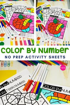 Printable Color By Number Activity Pages! Work on number recognition by coloring each picture using the number legend. Print and play, no prep required! Number Worksheets Kindergarten, Teaching Numbers, Kindergarten Activities, Book Activities, Number Recognition Activities, Printable Numbers, Printable Activities For Kids, Activity Sheets, Learning Colors