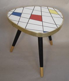 Vintage small TRIANGLE PLANT TABLE white Mondrian style pattern, 60s Space Age German Mid Century Modern on Etsy, $78.18