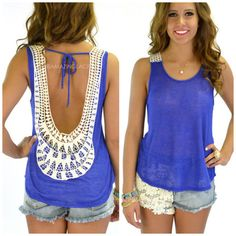 Sun Salutation Royal Open Back Crochet Tank