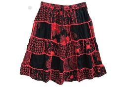 Amazon.com: Mogulinterior Gypsy Bohemian Skirt, Red Black Hippie Boho Patchwork Summer Skirts: Clothing