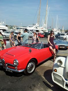 red car in the french riviera