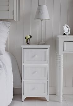 Maine white wooden bedside table with 3 drawers for storage
