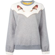 Stella McCartney embroidered robin sweatshirt ($780) ❤ liked on Polyvore featuring tops, hoodies, sweatshirts, grey, print sweatshirt, long sleeve tops, print top, embroidery top and patterned tops