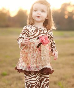 Brown Flower Zebra Tunic & Leggings - Infant & Toddler | Daily deals for moms, babies and kids