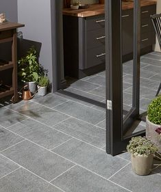 Fiamatto Coal™ Tile - Topps tiles - use in and outside house Balcony Tiles, Terrace Tiles, Terrace Floor, Balcony Flooring, Patio Tiles, Outdoor Tiles Patio, Outdoor Spaces, Indoor Outdoor, Granite Flooring