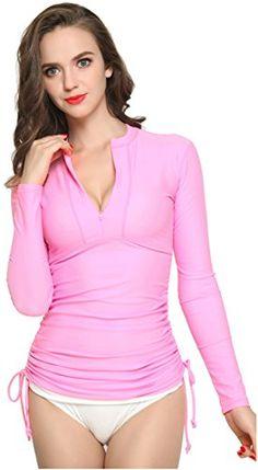 29bc81b2e ILISHOP Women's UV Sun Protection Long-Sleeve Rash Guards at Amazon Women's  Clothing store: