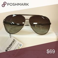 Unisex Polaroid polarized aviator sunglasses Gender: Unisex Shape/Style: Aviator Frame Material: Metal Frame Color: Brown (brown Gradient Polarized) Size: 63-11-128mm (eye-bridge-temple) 100% UV Protection Case and Cloth included  These are unisex glasses so I routinely switch them between then men and women category polaroid Accessories Sunglasses