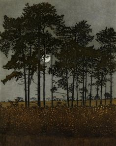 Moonlight, 1976 by Phil Greenwood on Curiator, the world's biggest collaborative art collection. Gravure Illustration, Illustration Art, Nocturne, Abstract Nature, Tree Art, Aesthetic Pictures, Moonlight, Painting & Drawing, Printmaking