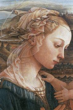 FILIPPO LIPPI (Fra) - Madonna col Bambino e angeli (o Lippina), dettaglio - 1465 - tempera su tavola - Galleria degli Uffizi, Firenze