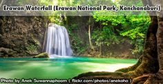 The most beautiful and the most famous national parks in Thailand. If you would like to relax and trek in the forest this place is the best for you.  #Erawan #Waterfall #Kanchanaburi #Thailand #Travel #Nature #Trekking