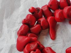 VINTAGE Supply Artisan RED CORAL Branches by NorahzBeadSupplies