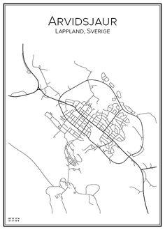 Arvidsjaur. Lappland. Sverige. Karta. City print. Print. Affisch. Tavla. Tryck.