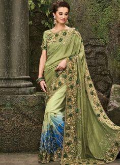 Mehandi Green Embroidery Work Satin Net Designer Fancy Wedding Half Sarees http://www.angelnx.com/Sarees/Wedding-Sarees