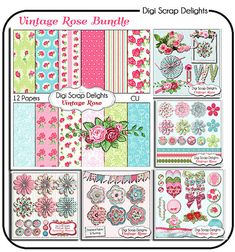 Vintage Rose Digital Scrapbook Kit Bundle by DigiScrapDelights