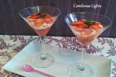 Comilonas Lights: Queso crema con fresas y plátano