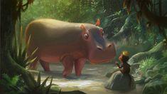 Hippo Moment by Joey Chou #hippopotamus #monkey