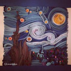 Van Gogh- Yıldızlı Gece- quilling - art - artist -