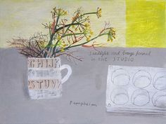 Ravilious and Fennel in the Studio by Elaine Pamphilon | Mixed media on wooden panel | 30 x 40 cm #elainepamphilon #tannerandlawson #stilllife #ravilious #wedgewood