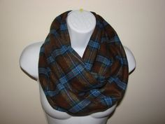 Plaid Infinity Scarf Brown Blue Olive Green by OtiliaBoutique, $26.50