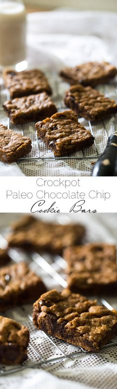 Crock Pot Paleo Cookies with Chocolate Chips – Let the crock pot do the work for you with these cookies that are loaded with gooey chocolate! An easy, healthy, grain-free treat! Terrific looking Paleo Paleo Dessert, Healthy Sweets, Dessert Recipes, Bar Recipes, Paleo Chocolate Chip Cookies, Paleo Cookies, Healthy Chocolate, Paleo Crockpot Recipes, Real Food Recipes