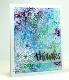 Happy New Year and welcome to another fun challenge at the CAS Watercolour Challenge. Here is the simple card I made for the challenge. I love the variations of colours on the snowflakes all thanks t