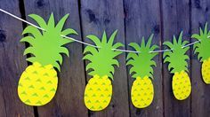 Pineapple Garland, Pineapple Banner, Tiki Banner, Aloha Banner, Hawaii Banner, Tropical Banner by CraftyCue on Etsy