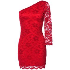 AX Paris One Sleeve Lace Dress (£15) ❤ liked on Polyvore featuring dresses, vestidos, red, short dresses, short lace dress, one shoulder lace dress, mini dress, arlena one-shoulder lace cocktail dress and short red cocktail dress